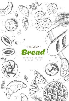Bäckerei-hintergrund. lineare grafik