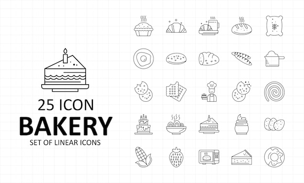 Bäckerei-ikonen-blatt-pixel-perfekte ikonen