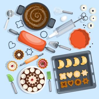 Bäckerei-karikatur-set Kostenlosen Vektoren
