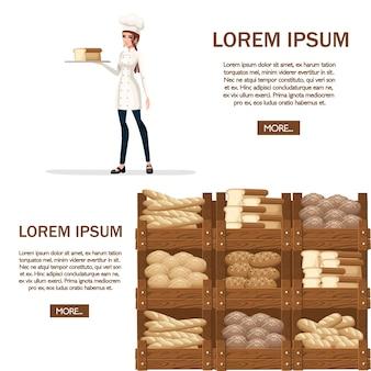 Bäckerei-köchin. illustration auf weißem hintergrund.
