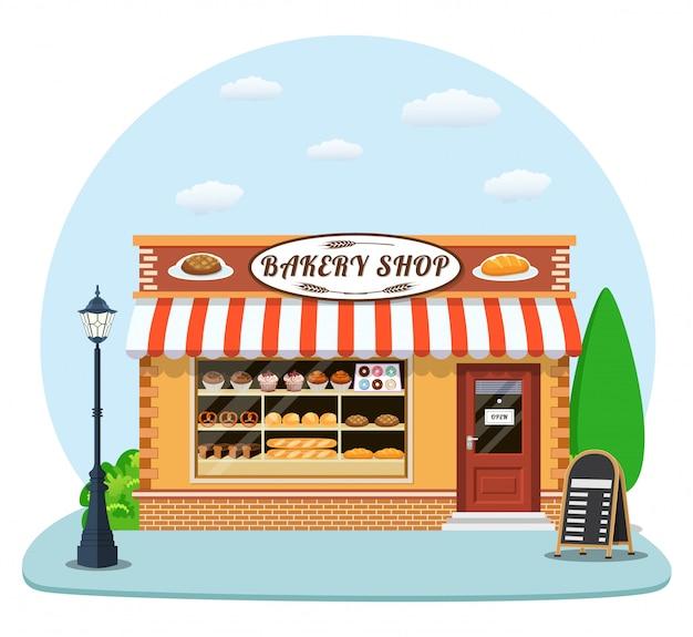 Bäckerei ladenfront mit flachem symbol.