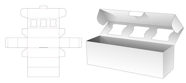 Bäckerei lange box mit top flip gestanzte vorlage design