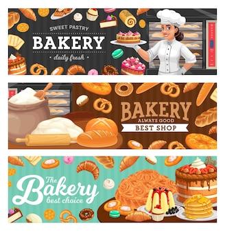 Bäckerei-lebensmittel und bäcker im haubenkartonvektor