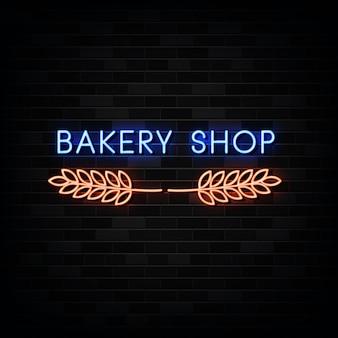 Bäckerei leuchtreklamen. neonschild Premium Vektoren