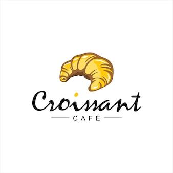 Bäckerei logo design golden croissant vektor