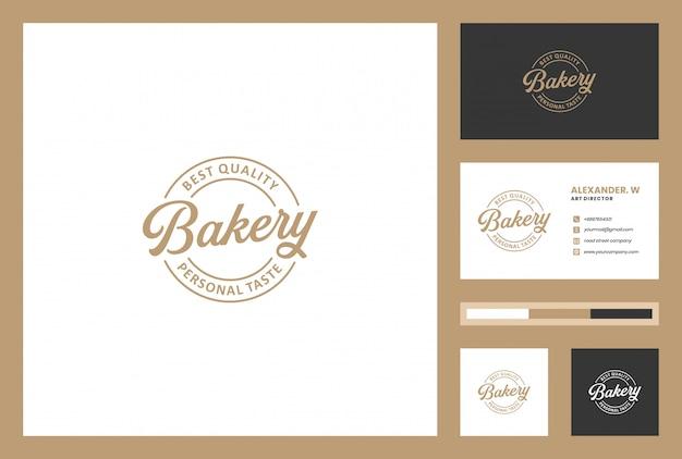 Bäckerei-logo-design mit visitenkarte.