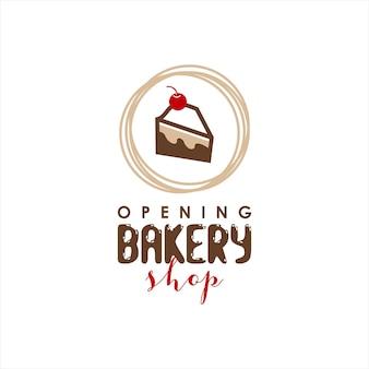 Bäckerei-logo einfacher stückkuchenvektor