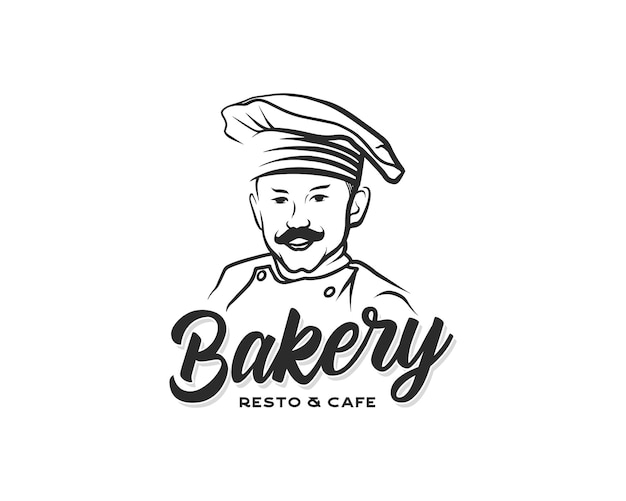 Bäckerei-logo handgezeichnete vektorgrafik des kochs mit schnurrbart