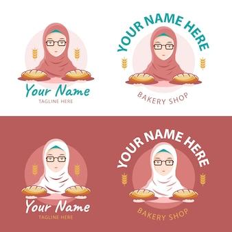 Bäckerei-logo mit hijab-mädchen als maskottchen