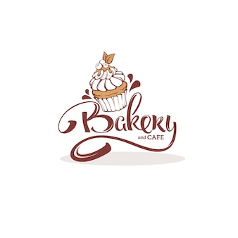 Bäckerei-logo-schablone, mit bild der cupcake- und beschriftungszusammensetzung