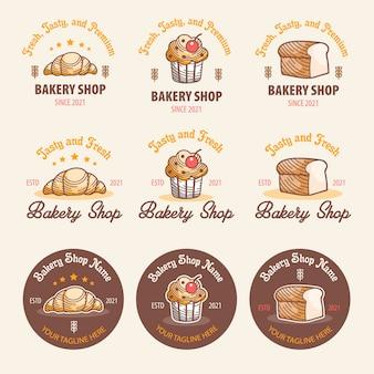 Bäckerei-logo-sets mit drei spitzen bäckerei