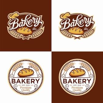 Bäckerei logo vorlage set design