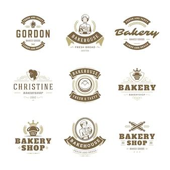 Bäckerei logos und abzeichen design-vorlagen setzen vektor-illustration.