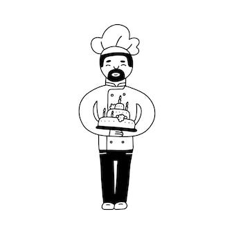Bäckerei männlicher charakter handgezeichnete doodle-linie vektorgrafik von kochkocher mit schnurrbart