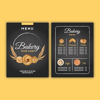 Bäckerei menüvorlage