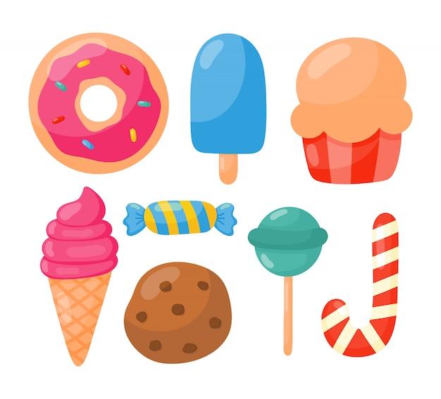 Bäckerei mit süßwaren und süßigkeiten isoliert
