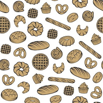 Bäckerei nahtlose muster mit gravierten elementen.