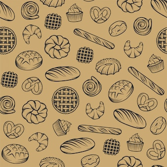 Bäckerei nahtlose muster mit gravierten elementen