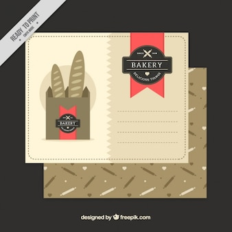 Bäckerei postkarte mit leckeren baguettes