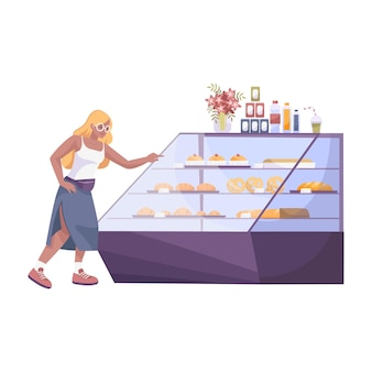Bäckerei-set flache komposition mit weiblicher figur, die croissant auf der ladenanzeige wählt