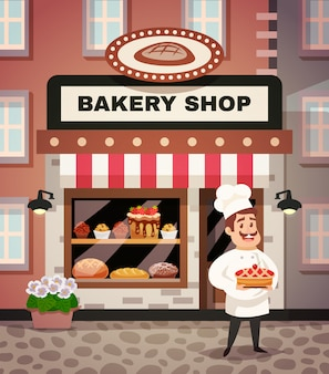 Bäckerei-shop-karikatur-illustration