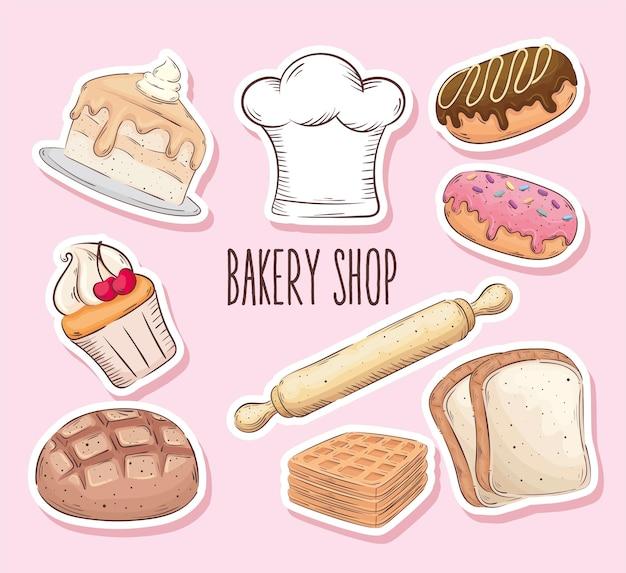 Bäckerei shop schriftzug mit neun satz ikonen vektor-illustration design