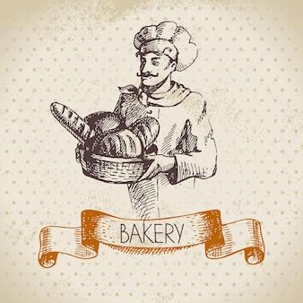 Bäckerei-skizze-hintergrund. vintage handgezeichnete illustration des bäckers