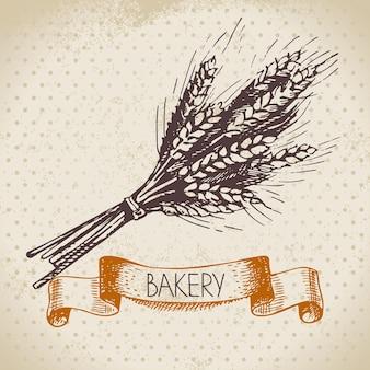 Bäckerei-skizze-hintergrund. vintage handgezeichnete illustration von weizen