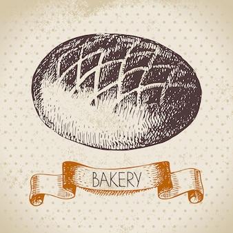 Bäckerei-skizze-hintergrund. vintage handgezeichnete illustration