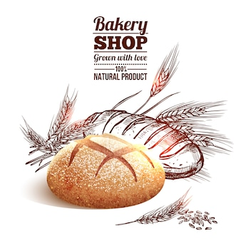Bäckerei-skizzen-konzept