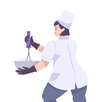 Bäckerei stellte flache zusammensetzung mit weiblicher kochfigur ein, die teller und schneebesen hält