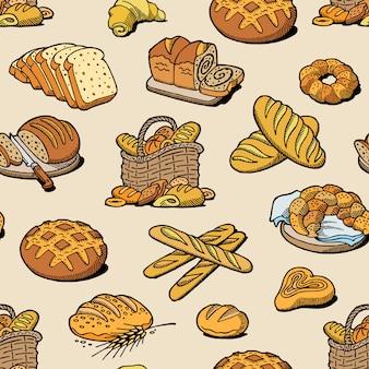 Bäckerei und brotbacken brotmahlzeitbrot oder baguette, die vom bäcker im nahtlosen musterhintergrund der backhaussatzillustration gebacken werden