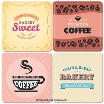 Bäckerei und café-etiketten im vintage-stil