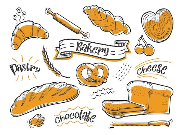 Bäckerei und konditorei handrawn-set