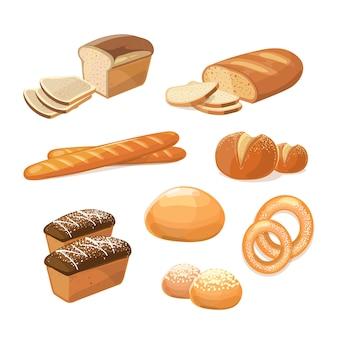 Bäckerei- und konditoreiwaren. verschiedene arten von brotvektorikonen. bäckerei essen zum frühstück, illu