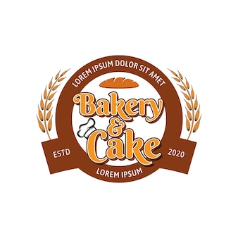 Bäckerei- und kuchenvektorlogoschablone 02