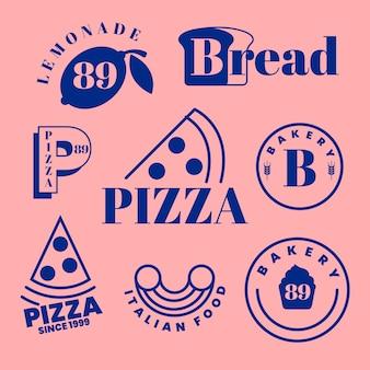 Bäckerei und pizza minimalistischen logos