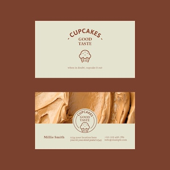 Bäckerei-visitenkarten-vorlagenvektor in beige mit zuckerguss-textur