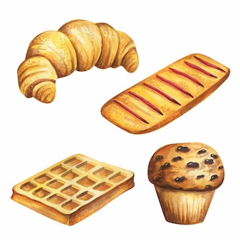 Bäckereiaquarell lokalisiert auf weißem rücken