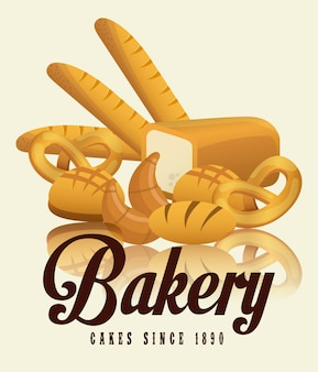 Bäckereiaufkleberdesign, grafik der vektorillustration eps10
