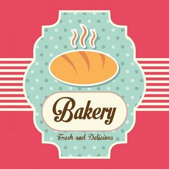 Bäckereientwurf über rosa hintergrundvektorillustration
