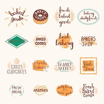 Bäckereietiketten eingestellt mit logos und emblemen im retrostil