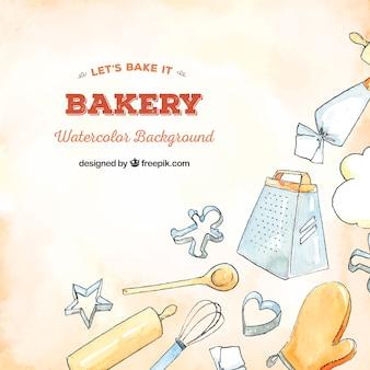 Bäckereihintergrund in der aquarellart