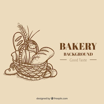 Bäckereihintergrund in der flachen art