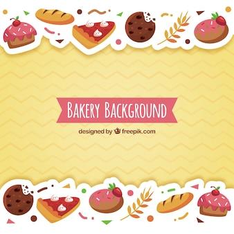 Bäckereihintergrund mit bonbons in der flachen art