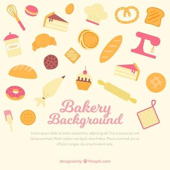 Bäckereihintergrund mit werkzeugen und bonbons in der flachen art