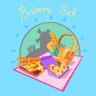 Bäckereikonzept mit gebäck und brot und windmühle auf der retro- hintergrundkarikatur
