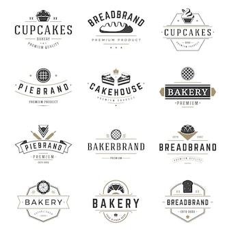 Bäckereishoplogo und ausweisdesignschablonen stellten vektor, gebäcklebensmittel ein oder backen hauslogos