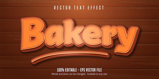 Bäckereitext, bearbeitbarer schrifteffekt der gebäckart auf hölzernem hintergrund