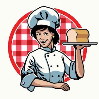 Bäckerin der frau mit ihrer flachen illustration der bäckerei